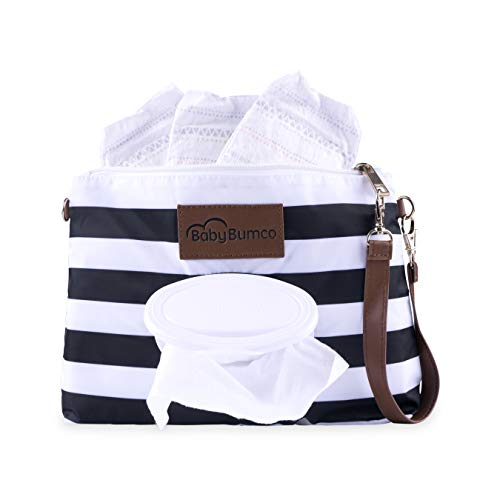 - Baby Bumco Diaper Clutch Bag - Water Resistant; Lightweight; Refillable Wipes Dispenser; Portable Changing Kit, Black