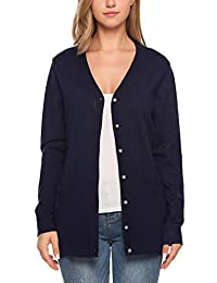 Meaneor Women's V Neck Button Down Long Sleeve Basic Soft Knit Cardigan Sweater