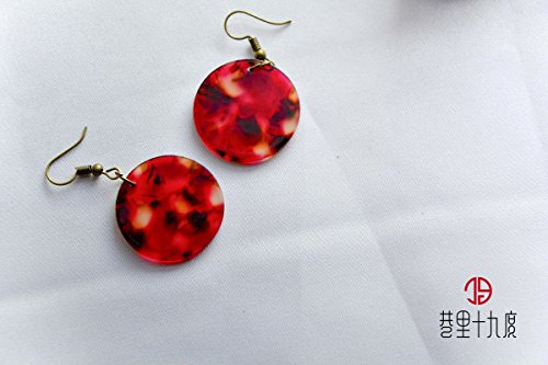 TKHNE Original hand-sense 80s retro earrings earrings variegated film discs ()