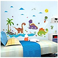 DIY Cartoon Dinosaur Paradise Wall Stickers For Kids Room Decoration Nursery Children Decals Murals Diy Home Decoration-ee