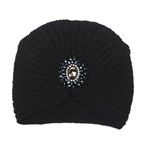 Winter Hat, ღ Ninasill ღ Exclusive Warm Knit Crochet Ski Hat Braided Turban Headdress Cap (Black) - Exclusive Crochet