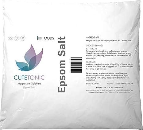 Cutetonic Sal de Epsom (sulfato de magnesio) (5KG)
