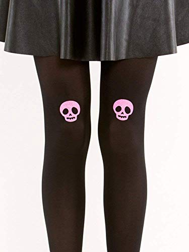 Pink Glitter Skull Tights - Semi Opaque Black Tights - Pastel Goth Tights ()