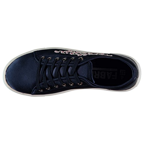 Embroidered up Trainers Womens Fabric Low Navy Lace 605ngq
