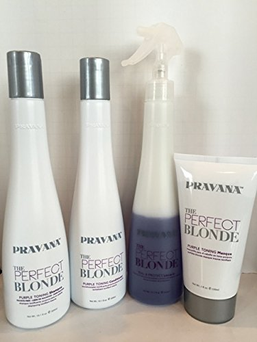 PRAVANA THE PERFECT BLONDE PURPLE TONING SHAMPOO, CONDITIONER, MASQUE & LEAVE IN SPRAY SET