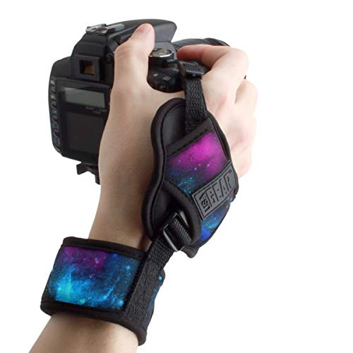 USA GEAR Professional Camera Grip Hand Strap with Galaxy Neoprene Design and Metal Plate - Compatible with Canon , Fujifilm , Nikon , Sony and more DSLR , Mirrorless , Point & Shoot Cameras ()