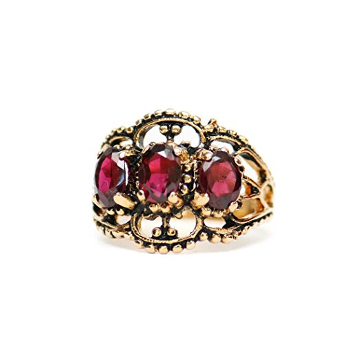 Providence Vintage Jewelry Garnet Swarovski Crystal Antiqued 18k Gold Plated Filigree Ring (Swarovski Garnet Crystal Austrian)