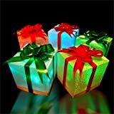 Set of 9 Christmas Holiday LED Light Up Gift Box Ornaments