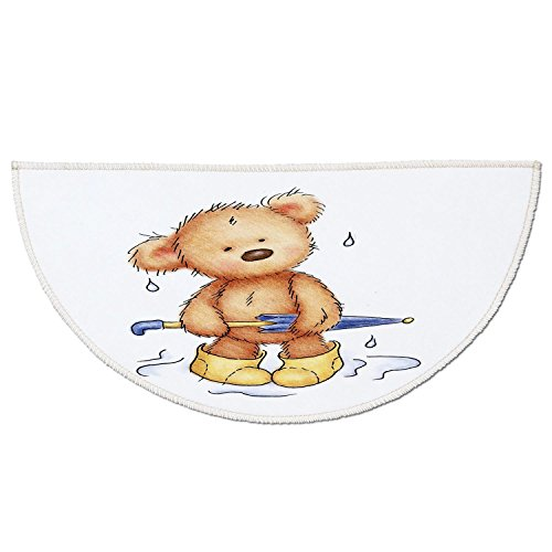 Bears Rain Boots (Half Round Door Mat Entrance Rug Floor Mats,Bear,Teddy Bear Caught up in Rain with Rubber Boots Holding an Umbrella Cartoon,Sand Brown Yellow Blue,Garage Entry Carpet Decor for House Patio Grass Water)