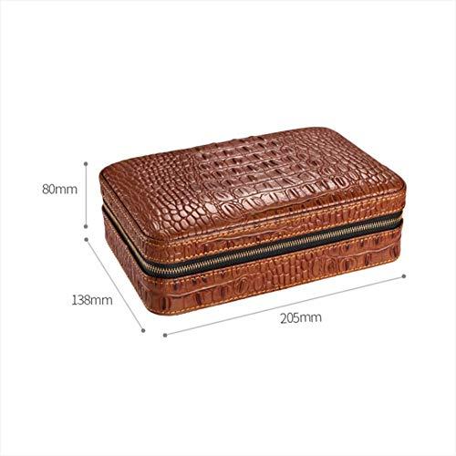 HYZXJHE Cigar Box Portable Cedar Box Leather Cedar Wood with Hygrometer Can Accommodate 4 Cigars by HYZXJHE (Image #1)