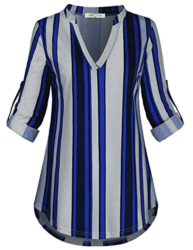 SeSe Code Striped Blouse Women, V Neck Fall Shirts for Womens 3/4 Roll Tab Sleeve Comfort Figure Flattering Winter Wear Modern Design Polyester Contrast Tunic Tops White and Blue X-Large