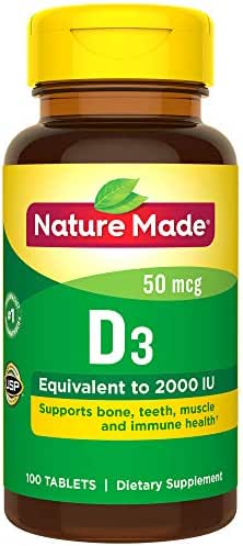 Nature Made Vitamin D 50 mcg (2,000 IU) Tablets, 100 Count for Bone Health (Packaging May Vary)