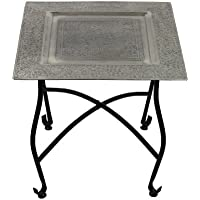 Essential Décor Entrada Collection Square Moroccan Table with Stand, 15.75 by 16.75-Inch