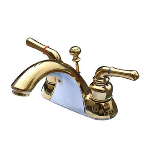 Naples 4 Centerset - Kingston Brass KB2622B Naples 4-Inch Centerset Lavatory Faucet Brass Pop-Up, Polished Brass