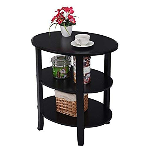ZOUQILAI Oval Shaped Wood End Table 3-Tier Storage Shelf Nightstand Coffee Snack Table with Solid Flared Legs Black