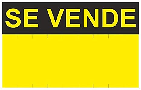 MovilCom® - Señal SE VENDE PVC 0,4mm AMARILLO 350X450mm Cartel inmobiliario (ref.RD50400)