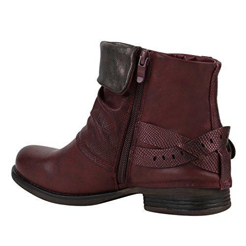 Japado - botas estilo motero Mujer rojo oscuro