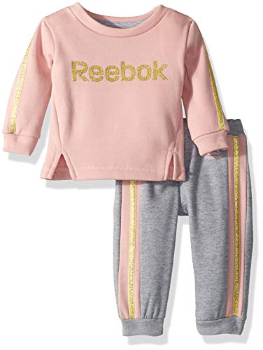 Reebok Baby Girls 2 Piece Spun Poly Fleece Glitter Logo Sweatshirt, Jog Pant, Medium Heather Grey, -