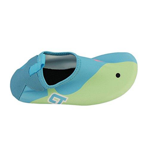 iPretty Kinder unisex Barfußschuhe hautfreundlichen Wassersportschuhe Badeschuhe Strandschuhe Surfenschuhe Leicht Weich Bequem Dance Yoga Fitnessschuhe für Junge und Mädchen Blau
