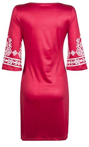Confortables Femmes L'impression Sauvage Classique Bodycon Solide Soirée Rouge Robe
