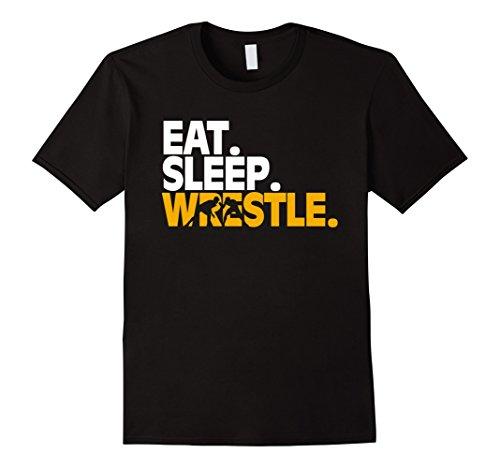 Wrestling Design - Men's This Cool Wrestling Text design Shirt 'Eat. Sleep. Wrestle.' Small Black