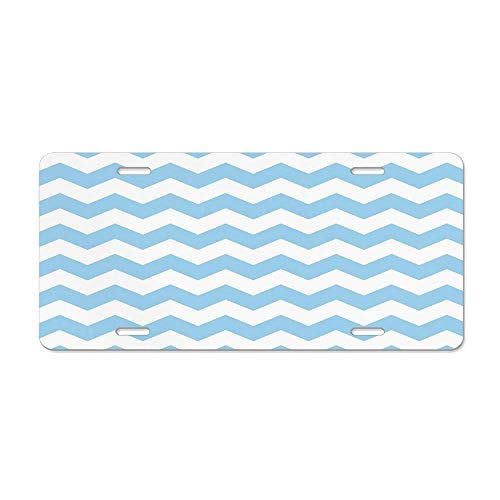 (Light Blue,Old Fashioned Classic Chevron Zigzags Baby Kids Room Nursey Themed Tile,Light Blue White Personalized License Plate for Front of Car - Custom Tag Sign 12 x 6 in)