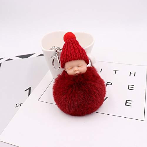 Key Chains - Fashion Baby Key Chain Unisex Fur Pompom Ball Ca Ring Jewelry Key Holder Trinket Porte Clef llaveros Mujer Portachiavi - by Mct12-1 PCs