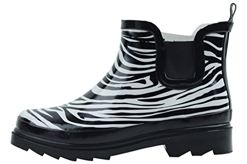 sh18es Shoes8teen Womens Short Rain Boots Prints & Solids 1118 Zebra ()