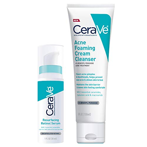 CeraVe Acne Treatment Face Wash and Retinol Serum Bundle | Contains One Acne Foaming Cream Cleanser (5 Ounce) and One…