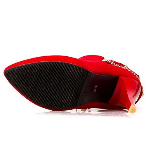 COOLCEPT Damen Western Stiletto Zipper Kleid Stiefeletten Mit Schnalle Red