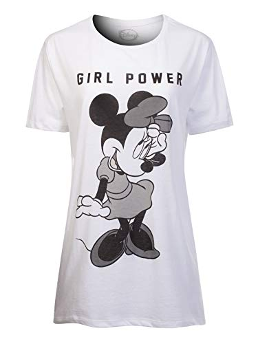 Instar Mode Women's Disney Minnie Mouse Print Short Sleeve Loose Fit T-Shirt DS433XA White 1XL