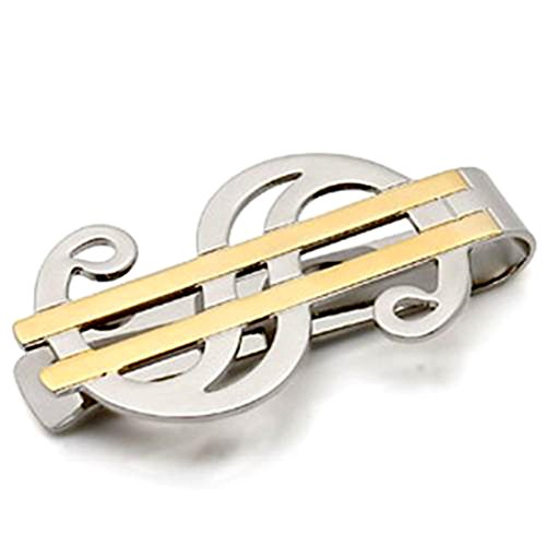 Money Sign Design - Stylish Two-Tone Gold and Silver Plated Money Clip with Dollar Sign Design