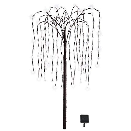 Collections Etc. LED Solar Willow Tree, Outdoor Solar Tree with Colorful Solar-Powered Lights with Adjustable Branches, White Lights ()