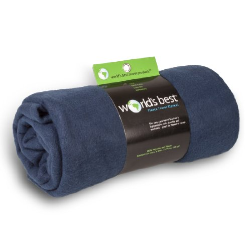 World's Best Cozy-Soft Microfleece Travel Blanket, 50 x 60 Inch, Navy, Great for Travel or Lounging at Home