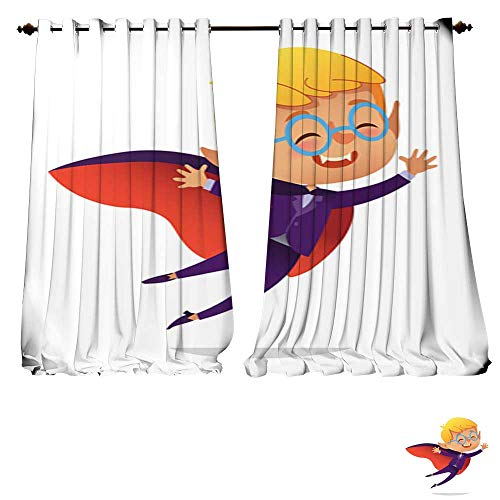 Blackout Grommet Curtains Kids Costume Party Dracula Vampire Boy in Halloween devil costume laughing and flying Cartoon vector 3 Layers High Density - Noise Reduction Fabric-W120