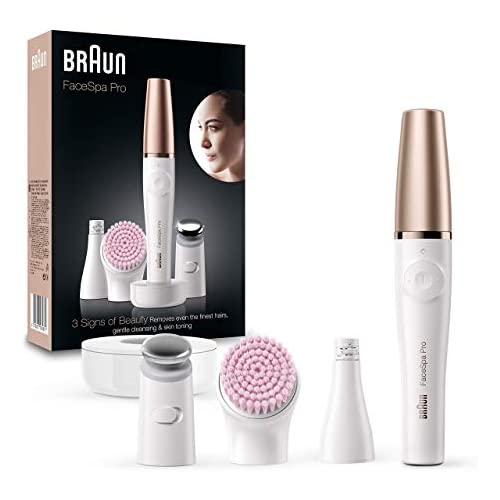 chollos oferta descuentos barato Braun FacEspa Pro SE912 Depiladora Facial Todo en Uno para Mujer Incluida una Depiladora Facial y Cepillo Limpiador Suave Blanco Bronce