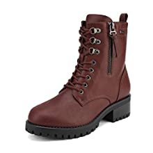 DREAM PAIRS Women's Burgundy Military Lace Up Combat Boots Size 7.5 B(M) US Jammie-2
