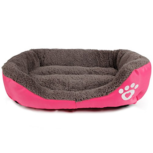 LA VIE Sofá Cama para Perro Impermeable en la Base Cojín Cama Cómoda y Suave para Mascotas Cesta para Gatos Cachorros Perros Pequeños y Medianos L Rosa: ...