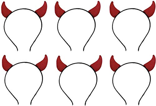 Faberry 6 Pcs Halloween Red Devil Horns Headband for Costume Party (Red) -