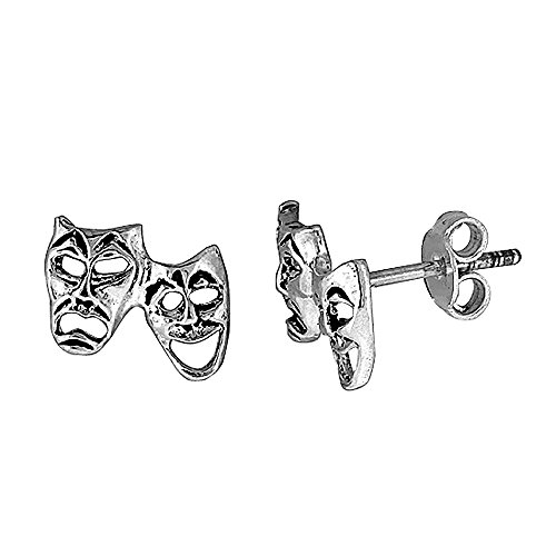 Sterling Silver Drama Masks Earrings
