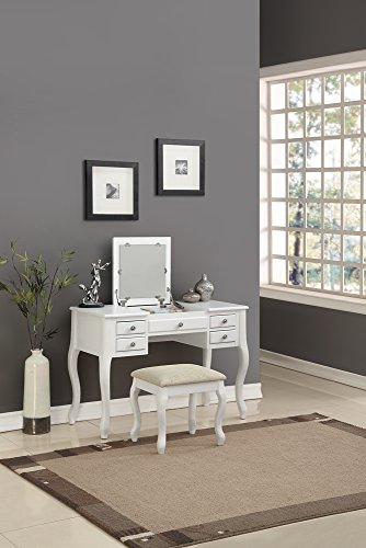 - Benzara BM167188 Cherub Vanity Set Featuring Stool and Mirror White