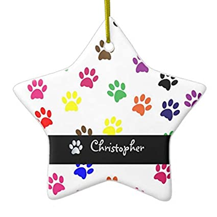 paw print dog pet custom girls name novelty christmas ornaments star ceramic porcelain pendents hanging christmas