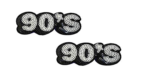(2 Pieces Sequin Retro 90's Iron On Patch Embroidered Word Number Motif Applique Scrapbooking Decal 3.2 x 1.3 inches (8 x 3.3 cm))