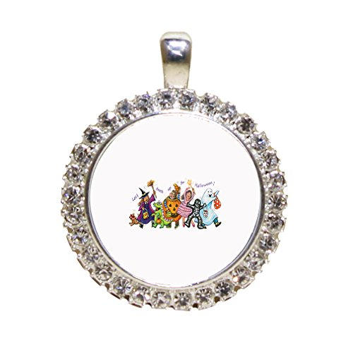 Kids With Costumes Of Halloween Vintage Look Rhinestone Pendant Antique Style Gold Frame