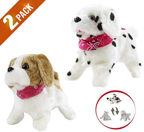 Haktoys 2-Pack Flip Over Puppy | Battery Operated Somersaulting, Walking, Sitting, Barking Plush Cute Little Toy Dog | Great Gift for Animal and Pet Loving Toddlers & Kids