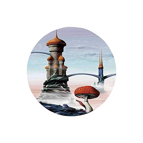 Fantasy House Decor Fashion Round Mousepad,Illustration of A Fantasy Castle Kingdom in an Alien World Science Fiction Fun Art for Office,7.87