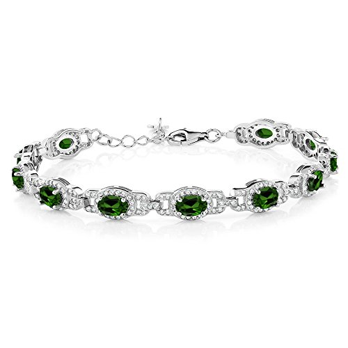 8.55 Ct Oval Green Chrome Diopside 925 Sterling Silver (Diopside Sterling Silver Bracelet)