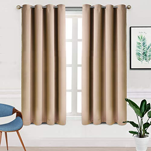 TEKAMON Blackout Curtains for Bedroom Grommet 2 Panels Set Draperies,Thermal Insulated for Living Room,Nursery (W52 X L63 inch,Khaki) (Home Sets Patio Goods)