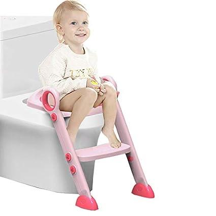 Asiento de entrenamiento para bebés ajustable con pasos Escalera de entrenamiento para inodoros Escalera para niños Asiento de inodoro con cojín de Esponja Pasos para bebés/niños de 2 a 8 años baobe
