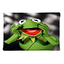 Muppets Kermit Miss Piggy Design Zippered Pillow Case 20x30 Inch Fabric Cotton and Polyester By Hovercoup